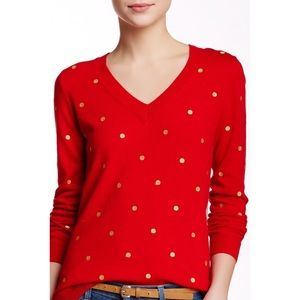 J. Crew Gold Polka Dot Embroidered red Sweater